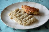 Filets de poulet au piment d'Espelette et son risotto
