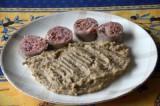 Saucisson à cuire avec purée aux cèpes